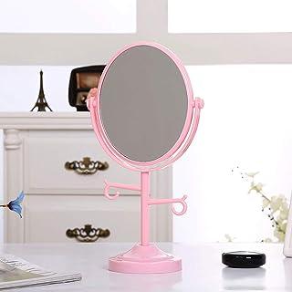 MXD Mirror Desktop Mirror Creative Double-Sided HD Vanity Mirror Princess Mirror Portable Mirror Triple Magnification Oval Mirror (Color : Pink)