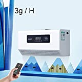 YZT QUEEN Generador De Ozono Montado En La Pared, Generador De Ozono De Control Remoto Inteligente Comercial De Purificador De Aire De 3G / H, Temporizador De 120 Minutos