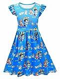 Koveinc Toddlers Dress Baby Girls Cartoon Cute Dress Fun and Games Short Sleeve Dress Blue 140