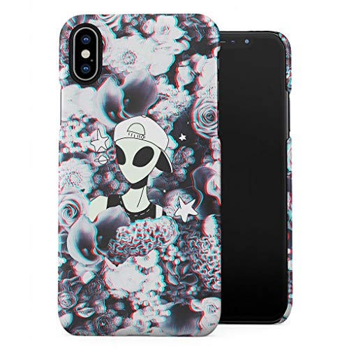 Swagy Alien Trippy Wildflowers Roses Pattern Tumblr Plastic Phone Snap On Back Case Cover Shell Compatible with iPhone Xs Max