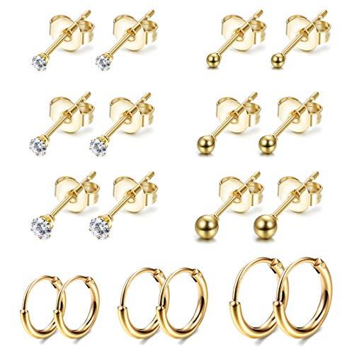 Jstyle 9Pairs Stainless Steel Tiny Stud Earrings for Women Girls Endless Hoop Earrings CZ Ball Earrings Set Gold Tone