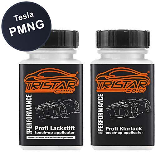TRISTARcolor Autolack Lackstift Set für Tesla PMNG Steel Grey Perl Metallic Basislack Klarlack je 50ml