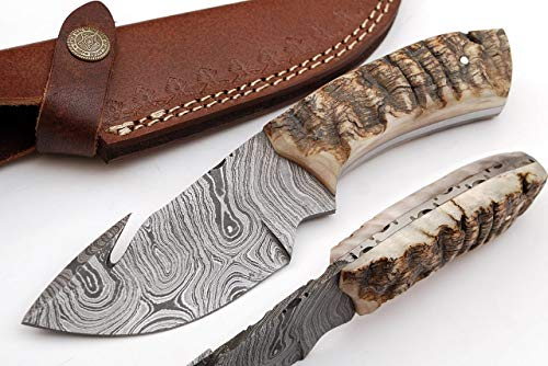 SharpWorld Beautiful Damascus Gut Hook Knife Made of Remarkable Damascus Steel Ram Handle/w Brown Leather Sheath TJ111