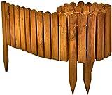 Floranica Flexibeler Beetzaun 203 cm (kürzbar) aus Holz als Steckzaun Rollboarder, Beeteinfassung, Kanteneinfassung, Rasenkante oder Palisade - wetterfest imprägniert, Farbe:braun, Höhe:20 cm