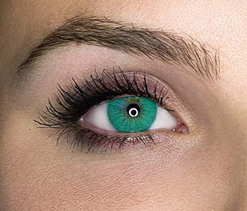 Kontaktlinsen farbig ohne Stärke farbige Jahreslinsen weiche Linsen soft Hydrogel 2 Stück Farblinsen + Linsenbehälter 0.0 Dioptrien natürliche Farben Serie Queen Emerald (grün intensiv)