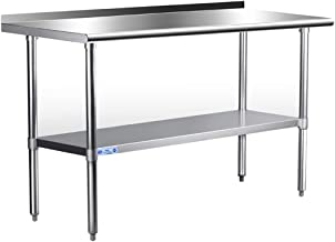 Stainless Steel Table for Prep & Work 24 x 60 Inches, NSF Commercial Heavy Duty Table with Undershelf and Backsplash for R...
