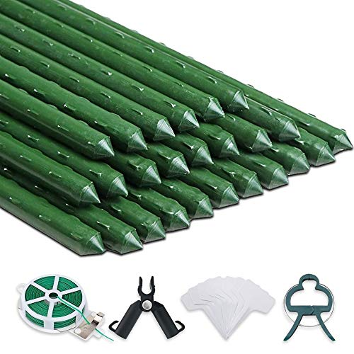 AJ GEAR Plant Stakes 81 Pieces- 48 Inch Sturdy Plastic Coated Metal- with Plant Support Accessories for Indoor Potted Plants and Outdoor Garden Grow Flowers, Tree, Tomato, Pole Bean and Vegetables