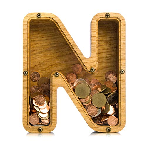 Large wooden piggy bank for girl boy adult LETTER N Personalized coin bank Montessori wood toy Baby shower gift Kid money box frame Tip jar 2 SIZES