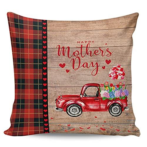 WXM 45,7 x 45,7 cm Tulip Hydrangea Floral en camión, fundas con cremallera para cojín, oficina, sofá, dormitorio, decoración del hogar, flores de primavera, cuadros de búfalo rojo