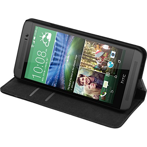 PhoneNatic Kunst-Lederhülle kompatibel mit HTC One E8 - Book-Case schwarz + 2 Schutzfolien