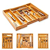 Winged Sirius Cutlery Tray|Bamboo Drawer Organiser with Removable Dividers | Long Lasting and Durable Wooden Cutlery Tray with Extra Foot Pads | Perfect for Home and Office Use