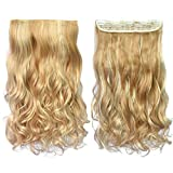 REECHO 20' 1-pack 3/4 Full Head Curly Wave Clips in on Synthetic Hair Extensions Hair pieces for Women 5 Clips 4.6 Oz Per Piece - Deep Brown