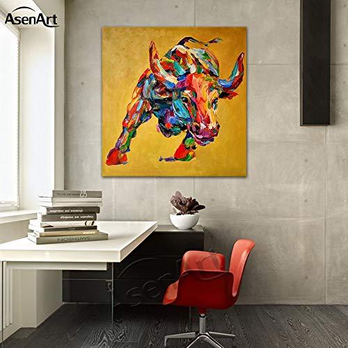 baodanla Geen frame Animal vierkante olieverf op canvas koe bull artwork thuis decor muur kunst foto woonkamer muurschildering geen frame