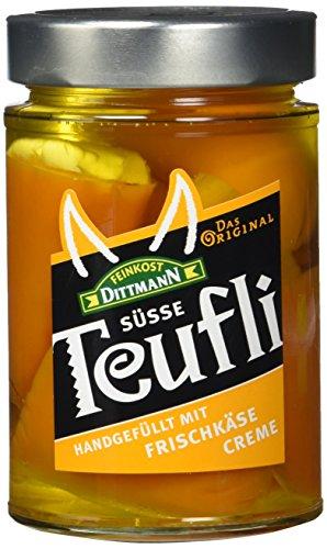 Feinkost Dittmann Teufli - Pikant-süße Peperoni, gefüllt mit einer Frischkäsezubereitung, 2er Pack (2 x 290 g)