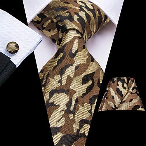 DJLHNPajarita Juego de Corbata Estampado Flor Corbata de Hombre Pañuelo Gemelos Boda de Hombre Juego de Corbata de Negocios - C-3300