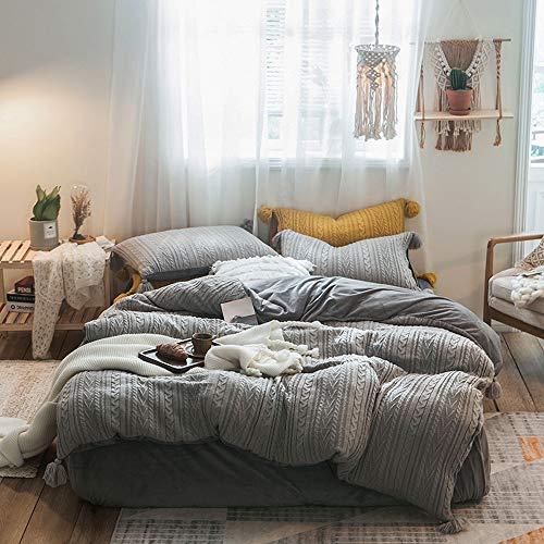 DaMai's Home 4 stuks gebreide trui lijn grijs polyester dekbedovertrekken en kussenslopen beddengoed sets geschikt voor slaapkamer logeerkamer vakantiehuis geschikt voor herfst en winter