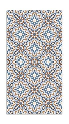 Panorama Alfombra Vinílica Azulejo Oriental Floreada Azul 80x250 cm - Alfombra Cocina Vinilo - Alfombra Salón Antideslizante e Ignífuga - Alfombras Grandes - Alfombras PVC