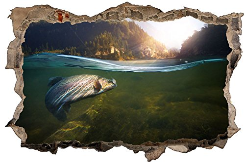 Fisch Angeln Forelle Natur Wald Wandtattoo Wandsticker Wandaufkleber D1021 Größe 70 cm x 110 cm
