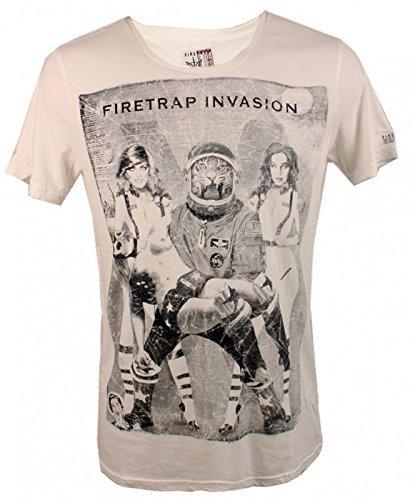 Firetrap Invasione uomo maglietta, Cotone, manica corta, T-shirt white con stampa, Taglie S-XL - cotone, Designerfarbbezeichnung: Bonewhite, 100 % 100% cotone cotone\n, Uomo, XS, Denominazione Colore Del Produttore: Bianco Ossa