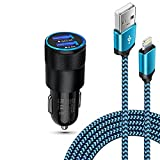 iPhone Car Charger Kit Fast Charging for iPhone 13 12 Pro Max Mini SE 11Pro Max X 10 XR XS 8 Plus 7 6, 30W Dual Port Lighter Adapter + Braided Apple Lightning Cable Cigarette Car Block Cord Wire 6FT