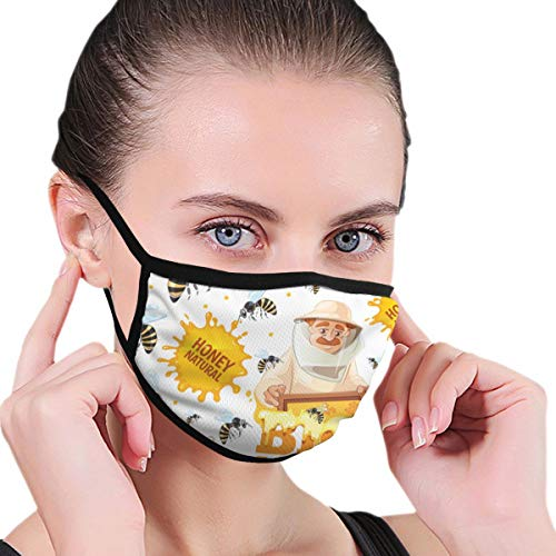 Doinh Black Edge Mouth, Apiary Patroon Honing Bijen En imkers In Masker, Polyester Materiaal Geschikt voor Man En Vrouwelijk