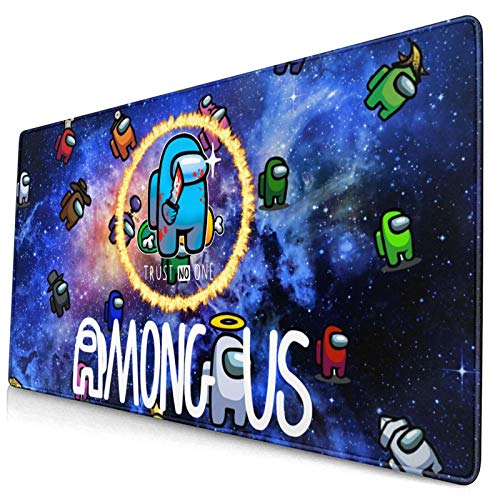 A-Mo-Ng U-S Extended Large Mouse Pad Gaming Mousepad Mouse Mat Waterproof Surface Desk Laptop Mat Long Non-Slip Mat Mice Rectangle Rubber Stitched Edges 15.8x29.5 in