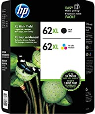 HP 62XL High Yield Black and Tri-Color Ink Cartridge Combo