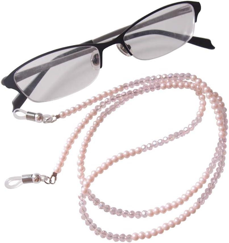 Sundysh Pearl Eyeglass Chain, Pink Crystal Beaded Glasses Strap
