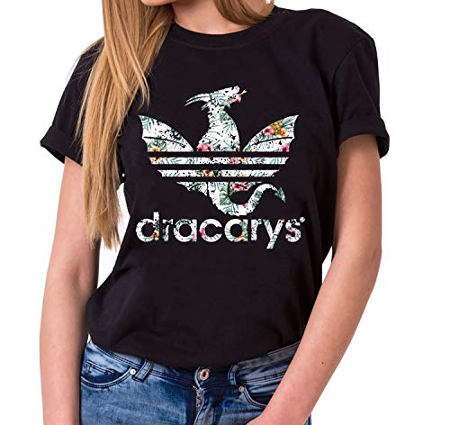 Dracarys Inaya - Camiseta para Mujer de Cuello Redondo Targaryen Thrones Game of Stark Lannister Baratheon Daenerys Khaleesi TV BLU-Ray DVD, Farbe2:Negro, Größe2:Medium