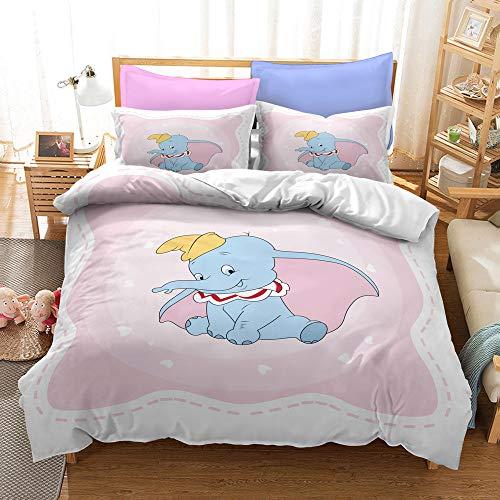Enhome Duvet Cover Bedding Set for Single Double King Size Bed, 3D Cartoons Cute Elephant Microfiber Duvet Set Quilt Case with Pillowcases for Children (Dumbo H,220x240cm)