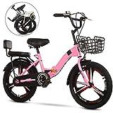 YRYBZ Vélo VTT pour Enfant, Bicyclette de Fille et de Garçon, 18 Pouces, 20 Pouces Pliable Bike Vélo, Bicyclette pour Enfant Pliant/Pink(B) / 20''