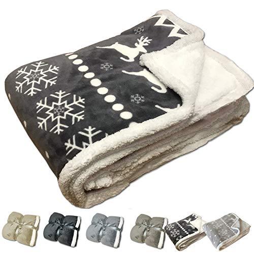 JEMIDI Kuschel Lammflor Kuscheldecke SCHWER!! Sherpa Wohndecke Sofadecke Felldecke Kuschel Couchdecke Woll Decke (150cmx 200cm, Norweger Grau)