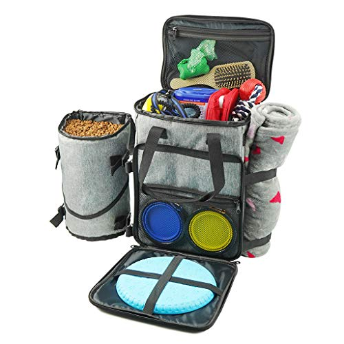 Protable Dog Gear Travel Bag Backpack,Week Away Case Food Toy Storage Travel Bag