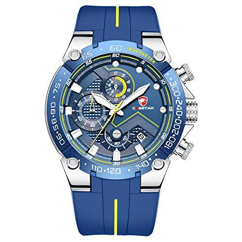 Herrenuhren Sport wasserdichte Chronographenuhr mit Silikonarmband, Datum, leuchtender Quarzarmbanduhr (silberblau)
