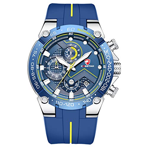 Reloj de Pulsera para Hombre, Resistente al Agua, cronógrafo, Correa de Silicona, Fecha, Luminoso, Cuarzo (Negro Amarillo)
