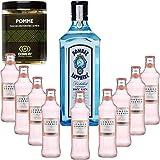 Gintonic - Bombay Sapphire Gin 40 ° + 9London Esencia 'White Peach & Jasmin' - (70cl 20cl + 9 *) + Pot 60 rodajas de manzana seca.