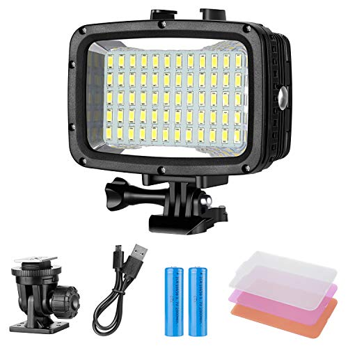 Neewer Underwater Lights Dive Light 60 LED Dimmable Waterproof LED Video Light 131feet/40m for GoPro...