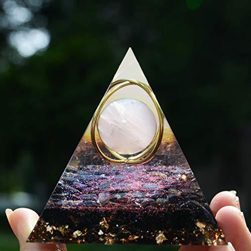 Piramide di orgonite, sfera di cristallo di quarzo rosa e ametista, ossidiana e rame, equilibrio dei chakra, meditazione Reiki