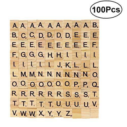 AYRSJCL 100pcs DIY Holz Buchstaben Fliesen Scrabblezeichen Ersatz Fliesen Platz Brief Fliesen Spiele Groß für Handwerk Scrapbooking Rechtschreibung