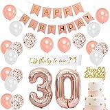 JOYMEMO 30 ° Compleanno Decorazioni per Donna - 30 ° Decorazione Buon Compleanno in Oro Rosa con Numero 30 Palloncino Foil, Rosa Happy Birthday Bunting, Buon 30 ° Compleanno Cake Topper