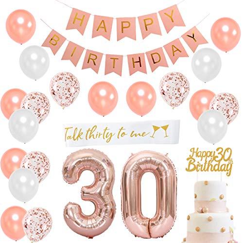 30. Geburtstag Dekorationen für Frauen - 30. Geburtstag Dekoration Gold Rose mit Schärpe, Nummer 30 Folienballon, Pink Happy Birthday Bunting