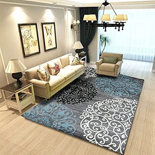 Geometrisch Bedruckter Teppich Im Europäischen Stil Dicker Wasserdichter Rutschfester Waschbarer Bodenbelag Geeignet Für Schlafzimmer Wohnzimmer Flur