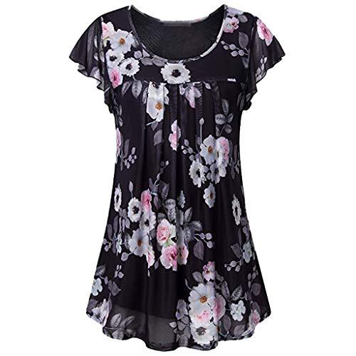 Dames Retro Casual Shirt met korte mouwen - Dames Bloemenprint O-hals Lichtgewicht Geplooide voorkant Mesh Lotus Leaf Hem Blouses Tops