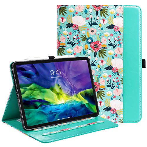 ULAK iPad Pro 11 inch 2020/2018 Case, Slim Lightweight Smart Case with Card & Pen Slot Stand Cover Case for Apple iPad Pro 11'' 2020/2018 - Colorful Flower