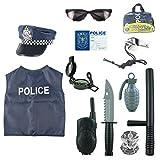 Macium 13 Piezas Policía Disfraz Niño con Policía Equipo Policía Chaleco Gorra Placa Policía Esposas Gafas de Sol Walkie Talkie Policía Juguete Kit para Niños
