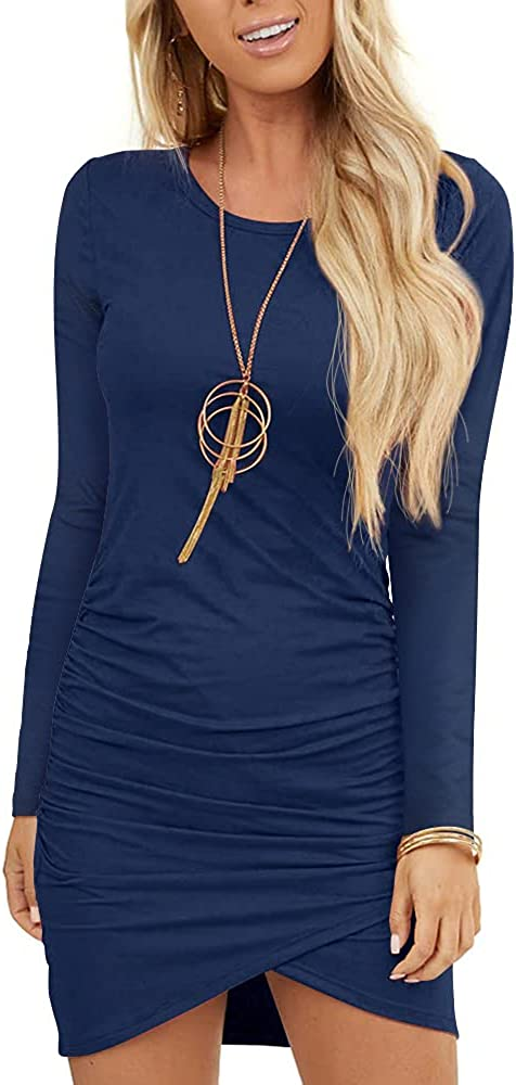 GOORY Women's 2021 Casual Bodycon Ruched Dresses Stretch Crew Neck Short Sleeve T Shirt Short Mini Dress