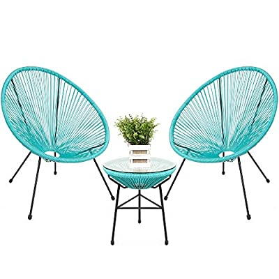 Best Choice Products 3-Piece All-Weather Patio Acapulco Bistro Furniture Set w/Rope, Glass Top Table - Light Blue
