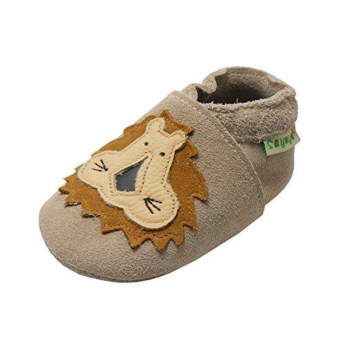 SAYOYO Babyschuhe WeichesLeder Lauflernschuhe Krabbelschuhe Babyschuhe Mit Löwe (Khaki,6-12 Monate)