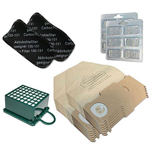 Set - 12 Staubsaugerbeutel + 2X HEPA Filter + 2X Kohlefilter + 12 Duftstäbchen Für Vorwerk Kobold VK 130, 131 SC, VK130, VK131