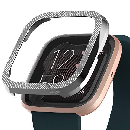 Ringke Bezel Styling Ontworpen voor Fitbit Versa 2 Case, Adhesive Volledig Roestvrijstalen Metalen Frame Beschermhoes voor Fitbit Versa 2-42 (ST) Zilver